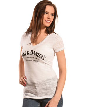 Jack Daniel's Women's Burnout V-Neck T-Shirt, White, hi-res