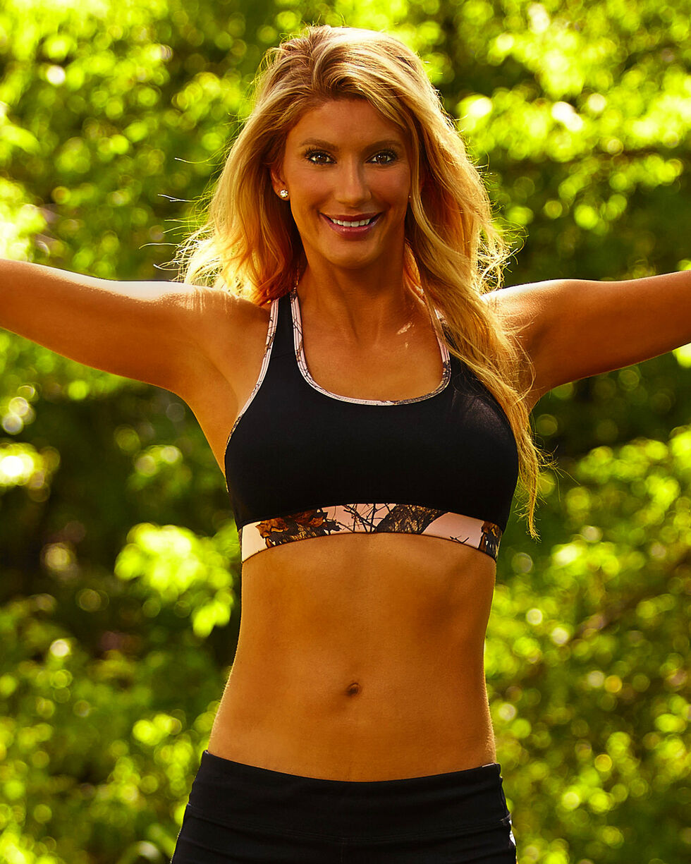 Wilderness Dreams Black Mossy Oak Pink Break-Up Sports Bra, Black, hi-res