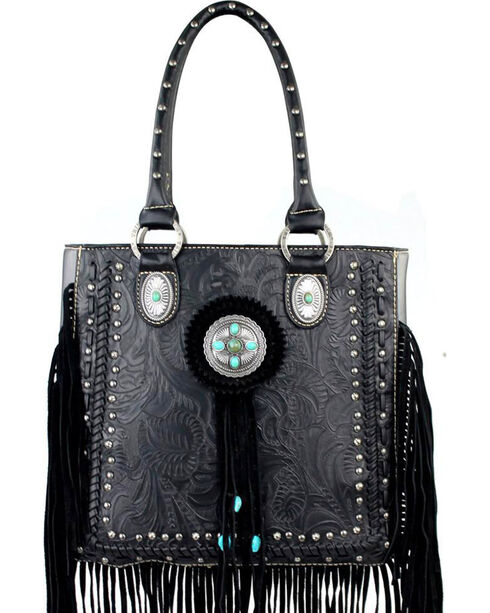 Trinity Ranch Women's Fringe Tooled Handbag, Black, hi-res