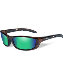 Wiley X P-17 Polarized Emerald Green Gloss Demi Sunglasses , , hi-res