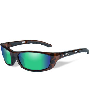 Wiley X P-17 Polarized Emerald Green Gloss Demi Sunglasses , Brown, hi-res
