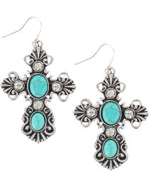 Shyanne® Women's Turquoise Pendant Cross Earrings, , hi-res
