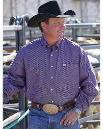 Cinch Men's Basketweave Geo Print Long Sleeve Button Down Shirt, , hi-res