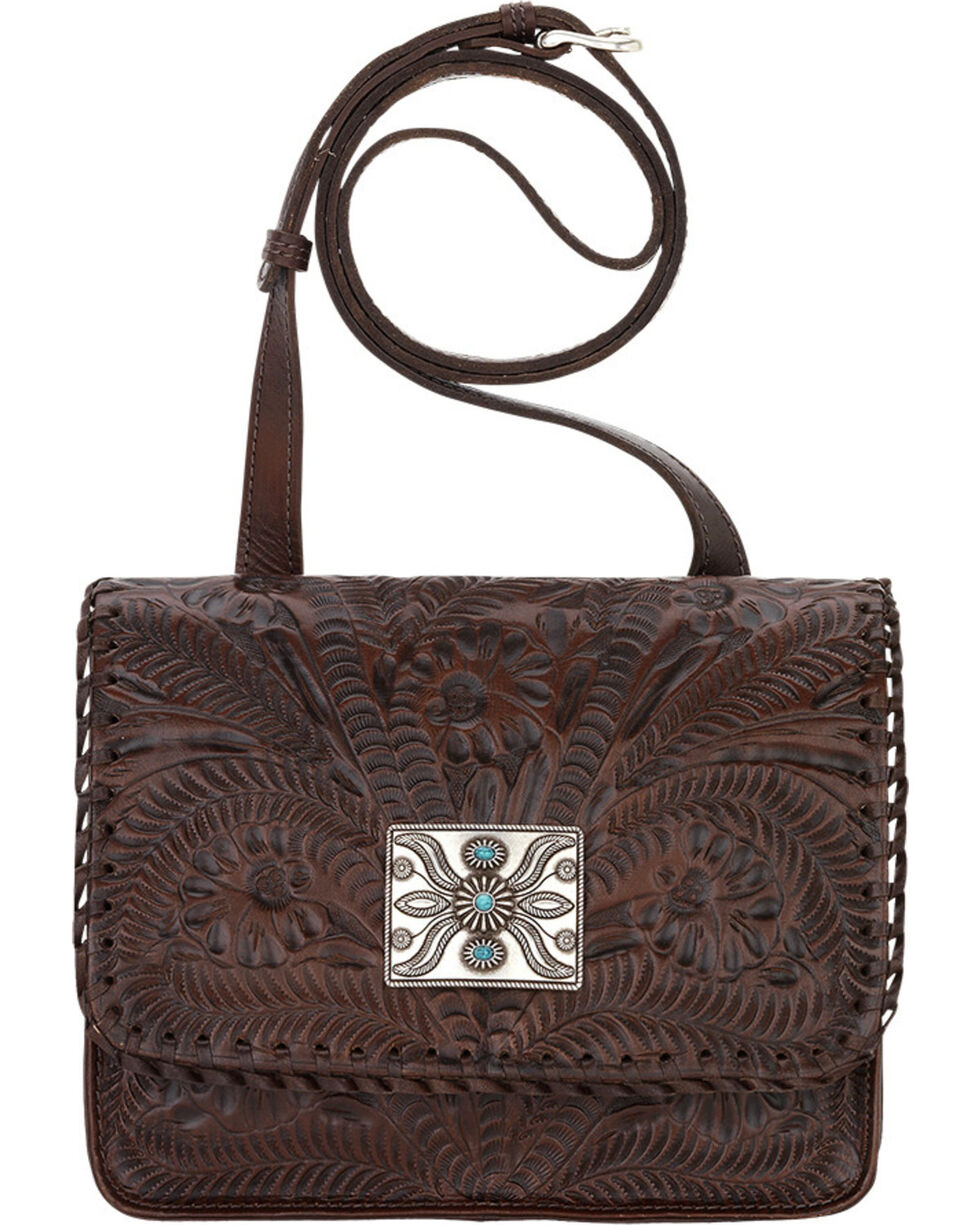 American West Brown Grand Prairie Crossbody Flap Bag , Brown, hi-res