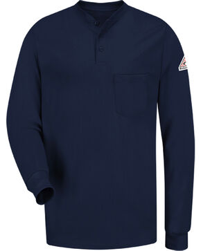 Bulwark Men's Navy Flame Resistant Tagless Henley Shirt , Navy, hi-res