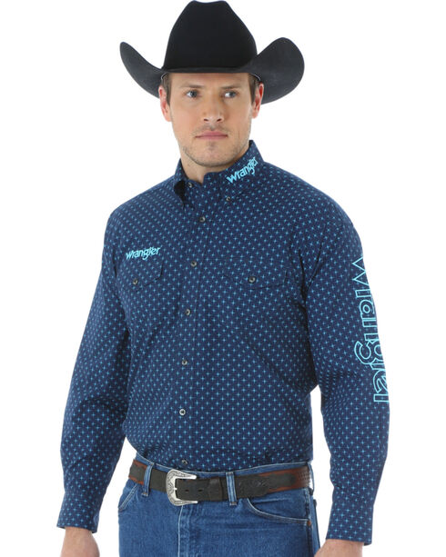 "Wrangler Men's Logo ""X"" Patterned Long Sleeve Shirt, Blue, hi-res"