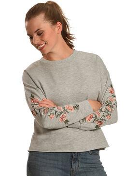 Derek Heart Women's Emmy's Embroidered Pullover, Grey, hi-res
