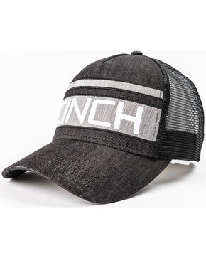 Cinch Men's Grey Stripe Logo Denim Trucker Cap, Black, hi-res