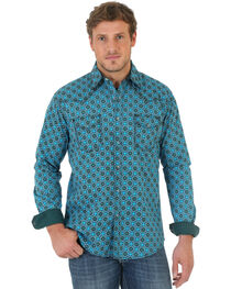 Wrangler Men's 20X Teal and Black Poplin Print Western Shirt , , hi-res