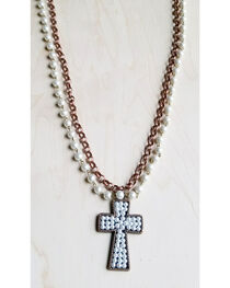 Jewelry Junkie Women's Pearl and Copper Necklace with Copper Cross Pendant, Rust Copper, hi-res