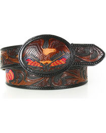 Silver Creek Men's Belt Tooled American Heritage Belt, , hi-res