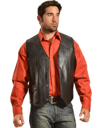 Liberty Wear Men's Leather Western Vest - Big, , hi-res