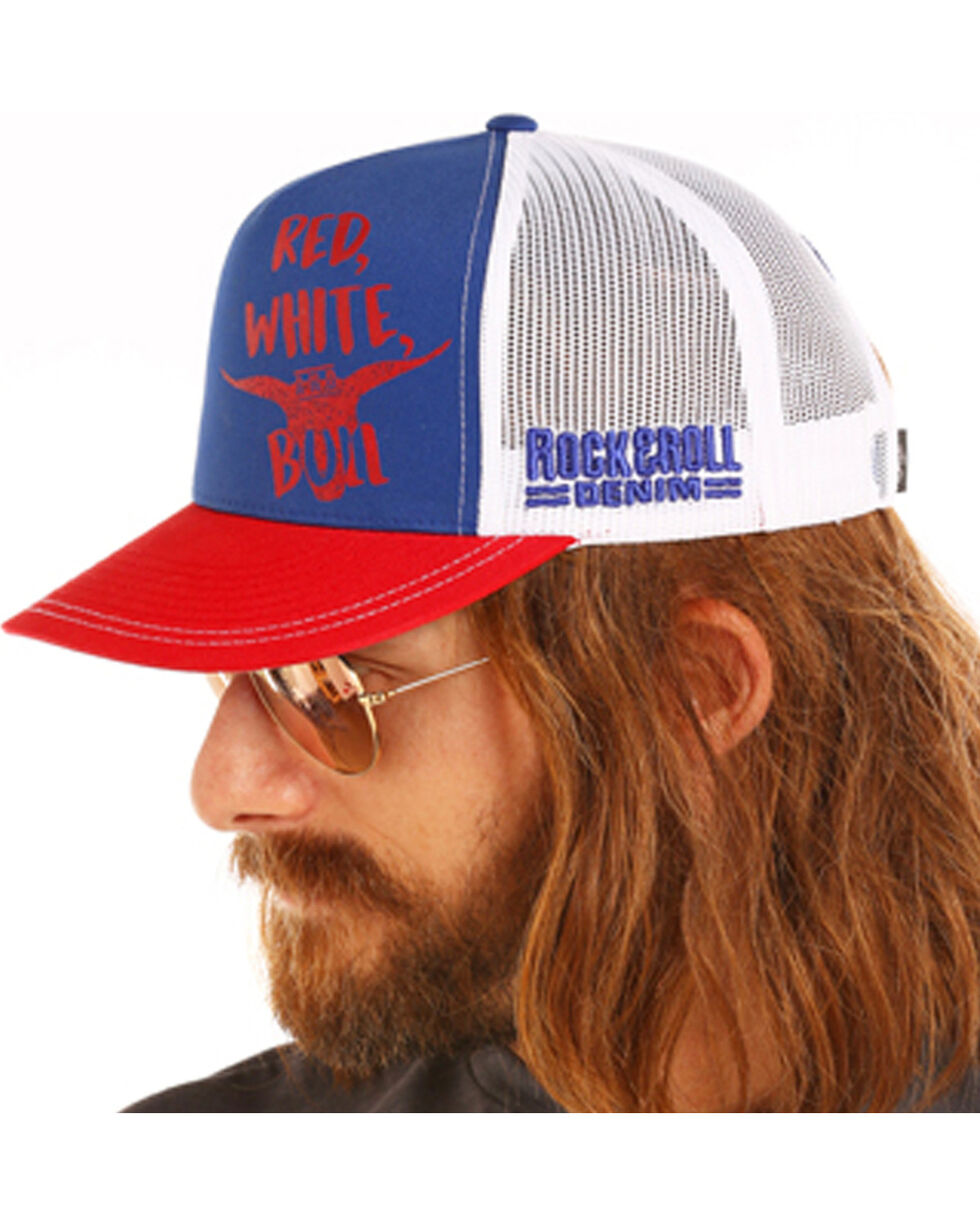 Dale Brisby Men's Red White & Bull Cap, Blue, hi-res