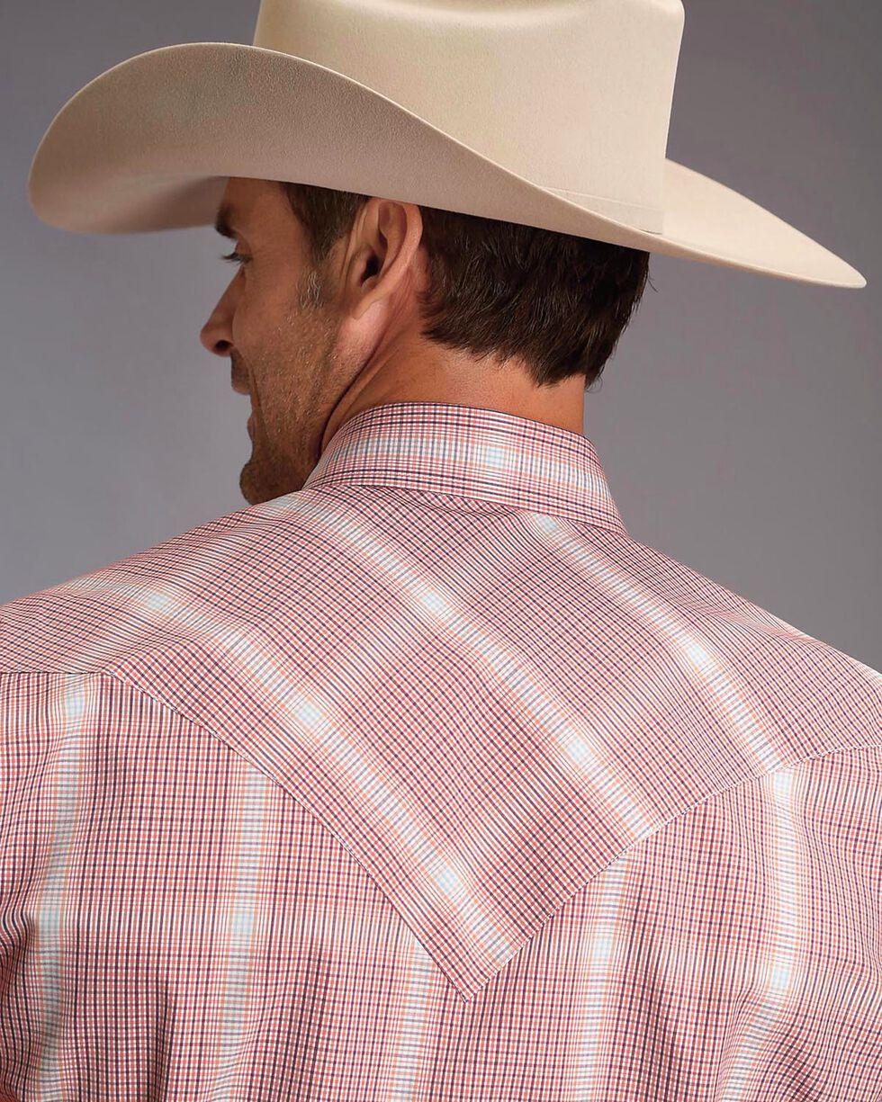 Stetson Men's Plaid Pearl Snap Western Shirt , Orange, hi-res