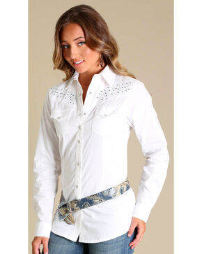 Wrangler Rock 47® Women's White Rhinestone Embroidered Shirt, White, hi-res