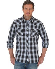 Wrangler Retro Men's Black/Grey Plaid Premium Long Sleeve Snap Shirt, , hi-res