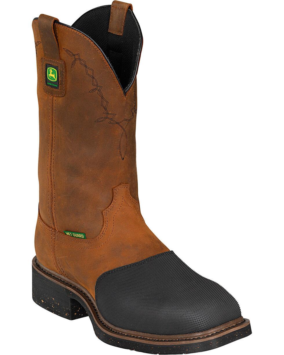 """John Deere® Men's 12"""" Pull-On Steel Toe Met Guard Work Boots, Bark, hi-res"""