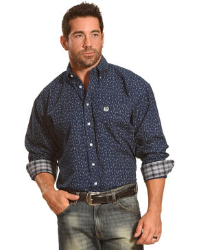 Panhandle Men's Long Sleeve Button Down Print Shirt, Navy, hi-res