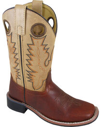 Smoky Mountain Boys' Cream Jesse Western Boots - Square Toe , , hi-res