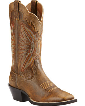Ariat Round Up Outfitter Vintage Cowgirl Boots - Square Toe, Bomber, hi-res