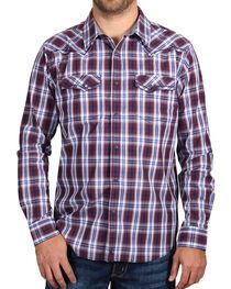 Cody James® Men's Western Plaid Long Sleeve Shirt, Burgundy, hi-res