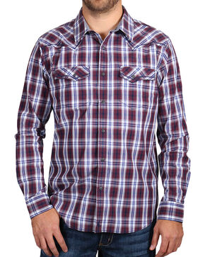 Cody James® Men's Western Plaid Long Sleeve Shirt, Burgundy, hi-res
