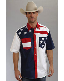 Roper Americana Collection Short Sleeve Stars and Stripes Western Shirt, , hi-res