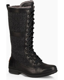 UGG Women's Black Elvia Boots - Round Toe , , hi-res