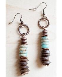 Jewelry Junkie Women's Aqua Terra and Wood Earrings, , hi-res