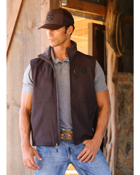 Hooey Men's Chocolate Softshell Logo Vest , Brown, hi-res