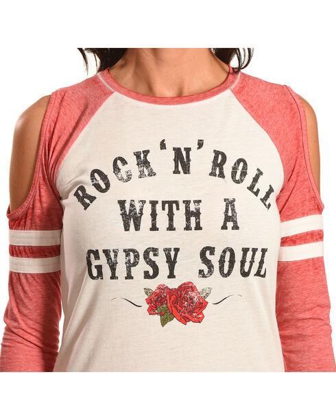 Cut & Paste Women's Cold Shoulder Gypsy Soul T-Shirt, Natural, hi-res
