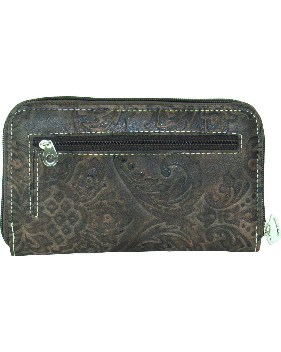 Savana Women's Tooled Zip Around Wallet, , hi-res