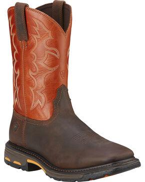 """Ariat Men's Workhog 11"""" Steel Toe Work Boots, Earth, hi-res"""