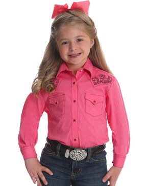 Wrangler Girls' Pink Embroidered Yoke Western Shirt , Pink, hi-res