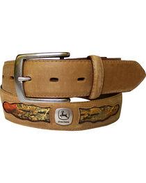 John Deere Men's Tan Horse Leather with Camo Cutouts Belt , , hi-res
