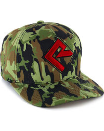 Rock & Roll Cowboy Men's Camo FlexFit Ball Cap, , hi-res