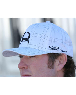 Cinch Men's Flex Fit Plaid Ball Cap, White, hi-res