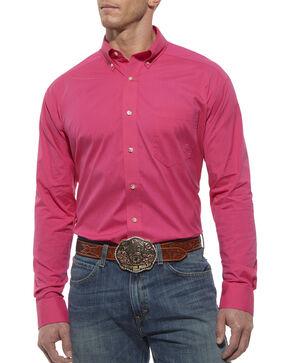Ariat Performance Hot Pink Solid Poplin Shirt, Hot Pink, hi-res