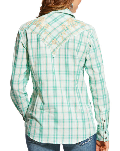 Ariat Women's REAL Strong Embroidered Snap Shirt, Light Green, hi-res