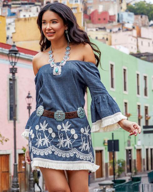 Shyanne Women's Fringe Trimmed Off-The-Shoulder Long Sleeve Dress, Blue, hi-res