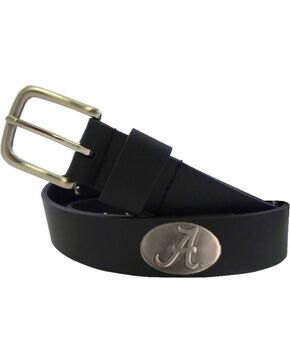 Collegiate Men's University of Alabama Bridle Leather Belt , Black, hi-res