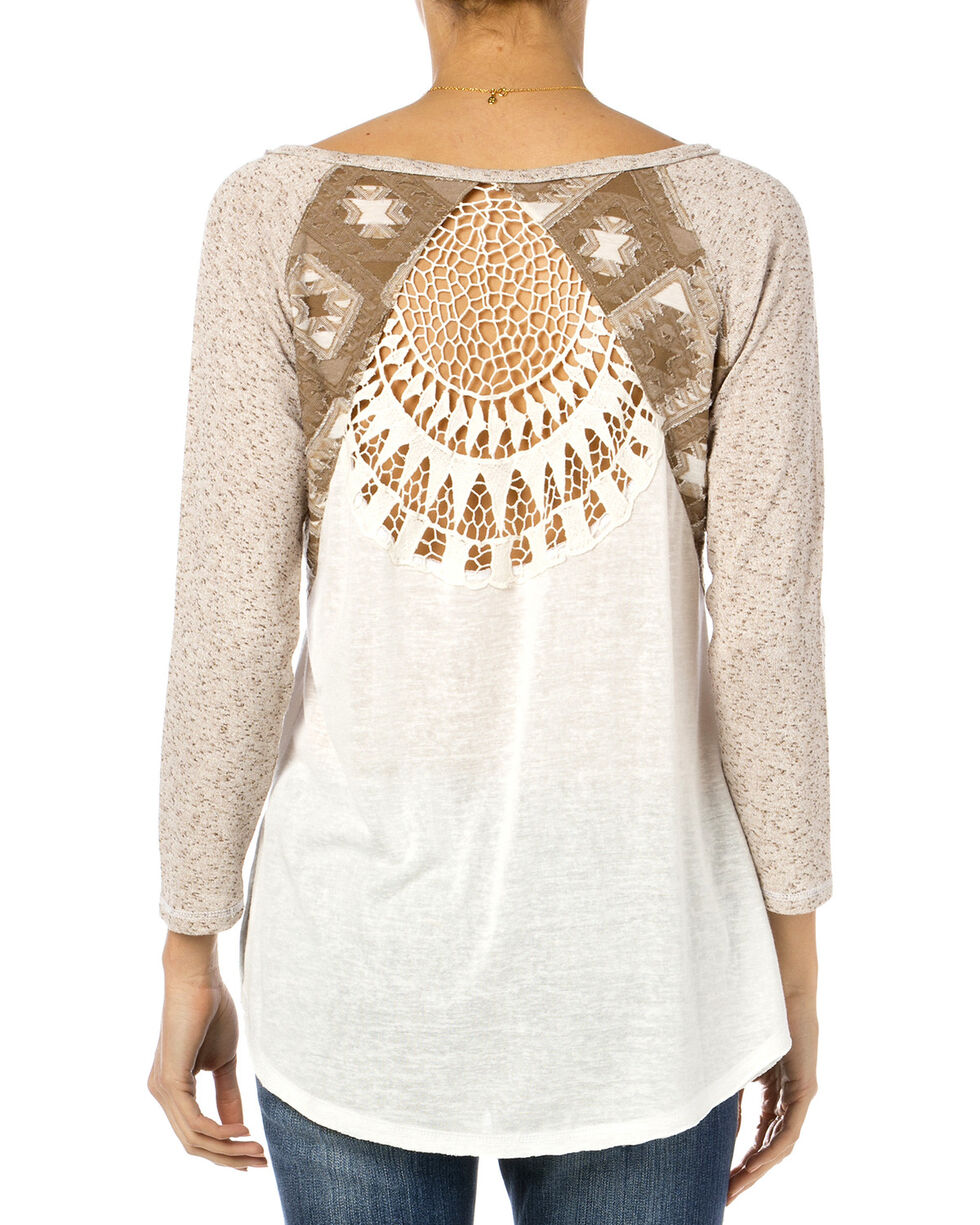 Miss Me Women's Crochet Back Embroidered Long Sleeve Top, Taupe, hi-res