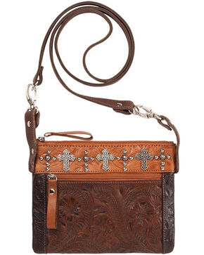 American West Women's Chestnut Trail Rider Hip Crossbody Bag , Chestnut, hi-res