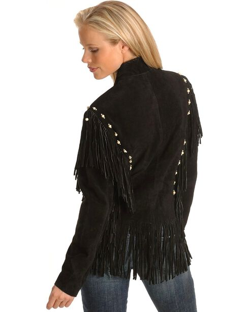Liberty Wear Bone Bead & Fringe Leather Jacket, Black, hi-res