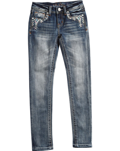 Grace in LA Girls' Indigo (7-16) Nellie Embroidered Pocket Jeans - Skinny  , Indigo, hi-res