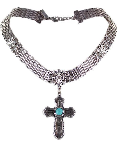 Shyanne® Women's Silver Cross Choker, Turquoise, hi-res