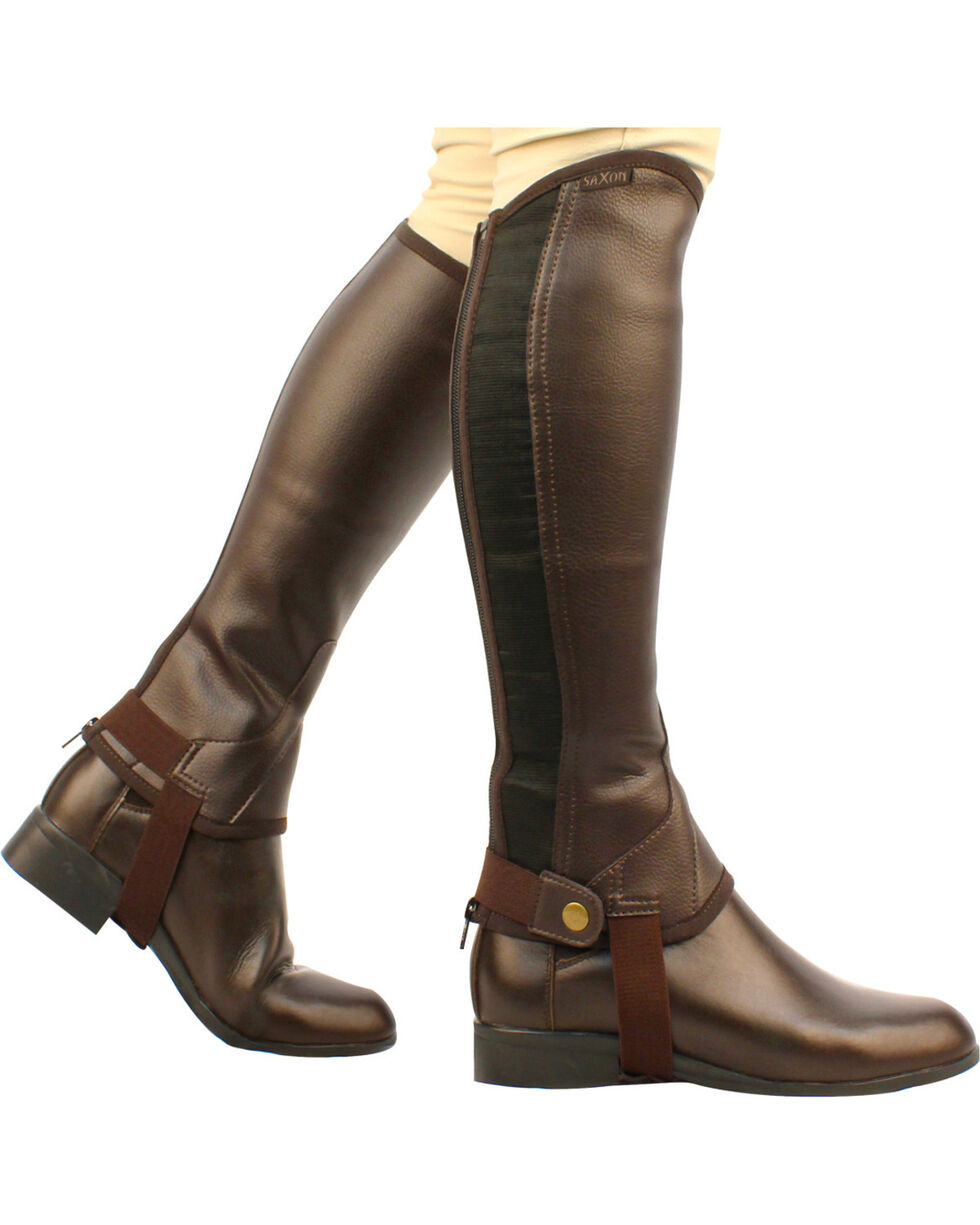 Saxon Equileather Half Chaps, Brown, hi-res