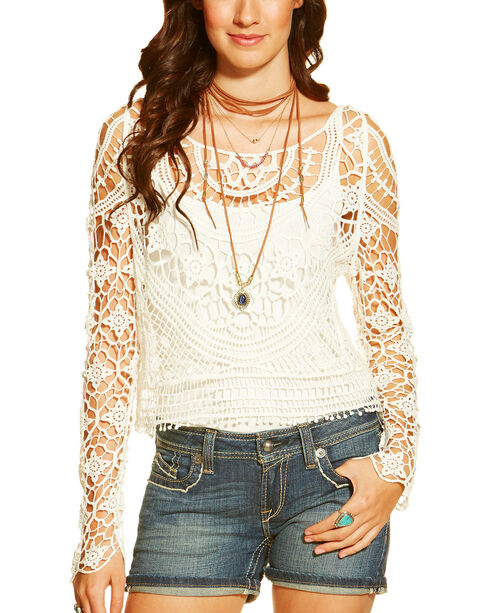 Ariat Women's Isle Cropped Sweater, White, hi-res
