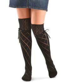 Blazin Roxx Black Crochet with Ribbon Knee-High Socks, , hi-res