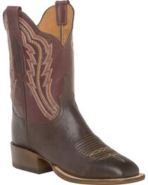 Lucchese Women's Daisy Chocolate Goat Leather Horseman Shortie Western Boots - Square Toe, Chocolate, hi-res